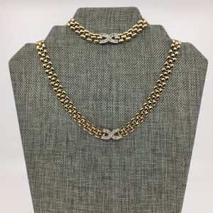 Gold Tone Necklace and Bracelet Set with Crystals